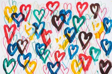 Background of abstract colorful painted hearts on white background stock vector