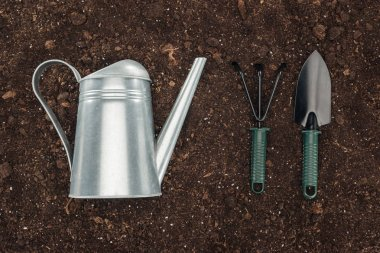 top view of watering can near gardening tools on ground, protecting nature concept