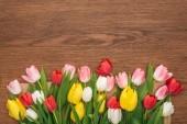 pohled shora na barevné tulipány na dřevěné pozadí