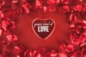 top view of beautiful heart with groovy kind of love lettering and decorative petals on red background, valentines day concept