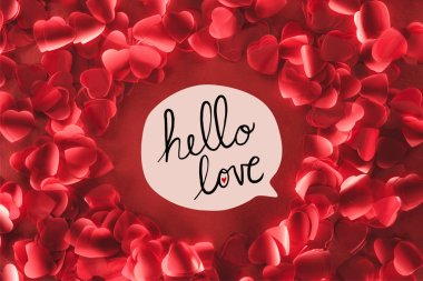 Top view of beautiful round frame from decorative heart shaped petals on red background with