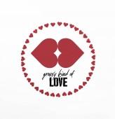 emelt szintű képe kör piros szív szimbólum elszigetelt fehér sablonos fajta szeretet betűkkel készült