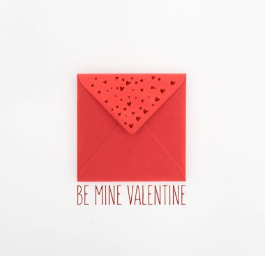 Flat lay with red envelope isolated on white, st valentine day concept with