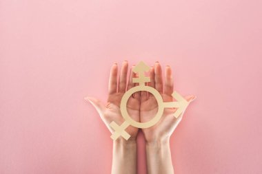 partial view of female hands with paper cut gender sign on pink background, lgbt concept