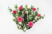 pohled shora rtěnky na složení květy na bílém pozadí