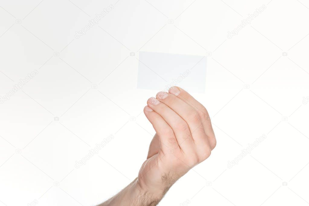 Cropped view of man holding blank card isolated on white stock vector