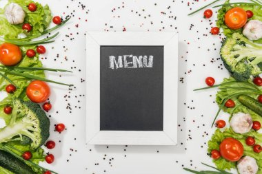 Top view of chalk board with menu lettering among tomatoes, lettuce leaves, cucumbers, onion, spices and garlic stock vector