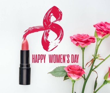 Top view of lipstick and pink roses on white background with happy womens day lettering stock vector