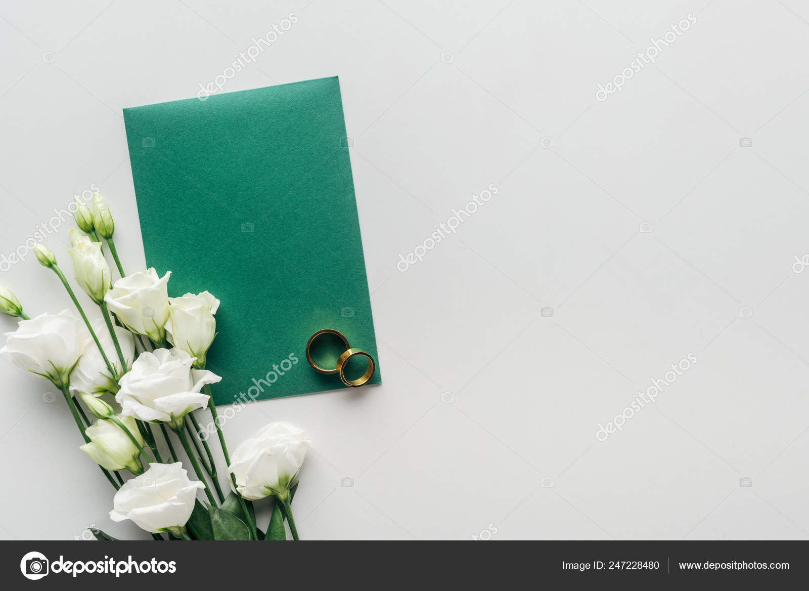 Top View Empty Green Envelope Eustoma Golden Wedding Rings