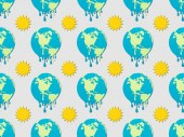 Fotografie pattern with melting earth and sun signs on grey background, global warming concept
