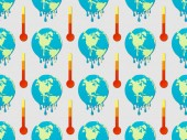 pattern with signs of melting globes and thermometers on grey background, global warming concept