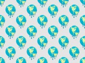 Photo pattern with melting globes signs on grey background, global warming concept