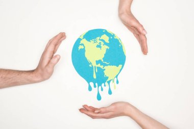Cropped view of male and female hands around paper cut melting globe on white background, global warming concept stock vector