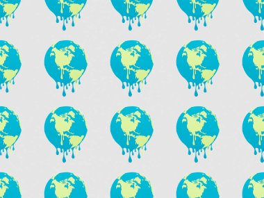 Pattern with melting globes signs on grey background, global warming concept stock vector