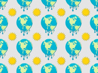 Pattern with melting earth and sun signs on grey background, global warming concept stock vector
