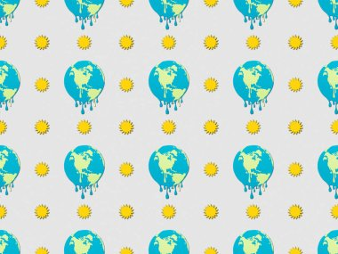 pattern with melting globes and sun signs on grey background, global warming concept