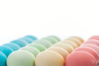 traditional colorful easter eggs isolated on white