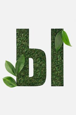 Cut out cyrillic letter made of grass with green leaves isolated on white stock vector