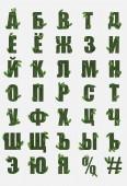 písmena cyrilice z Ruské abecedy z zelené trávy s čerstvých listů izolované na bílém