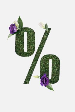top view of cut out percent sign on green grass background with green leaves and purple flowers isolated on white