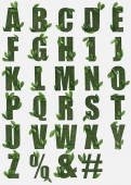 dopisy od anglické abecedy z zelené trávy s čerstvých listů izolované na bílém