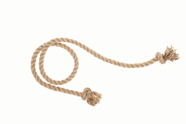 brown jute rope curl with knots isolated on white
