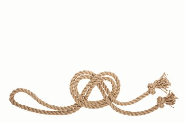 nautical brown and twisted rope with sea knot isolated on white