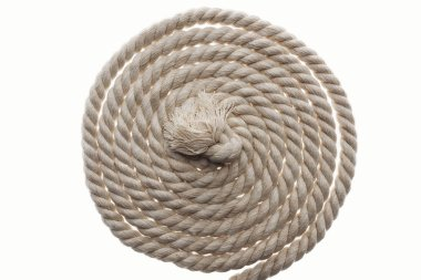 long brown and twisted rope with knot isolated on white