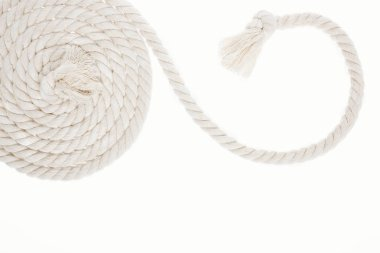 white, curled and long rope with knot isolated on white