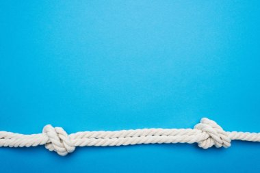 white long twisted ropes with sea knots isolated on blue