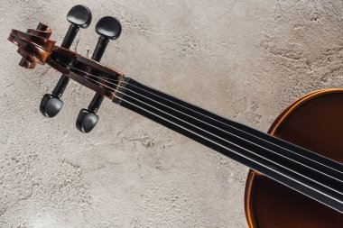 top view of strings on violoncello on grey textured surface