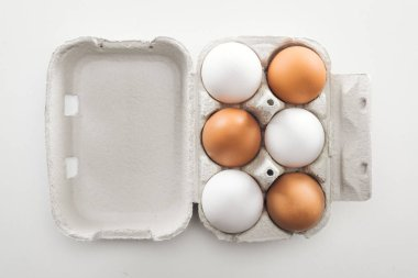 Top view of raw white and brown chicken eggs in carton box on white background stock vector