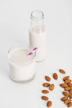 organic almond milk in bottle and glass with straw near scattered almonds