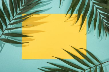 top view of tropical leaves and yellow card with copy space on turquoise background