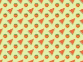 top view of textured pattern with handmade paper strawberries and watermelon slices isolated on green