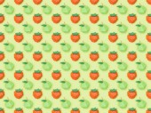 zobrazení texturovaného vzorku s ručně zhotovovaným papírem jahody a jablka izolovaná na zelené