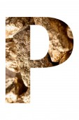 letter P made of shiny golden stones isolated on white