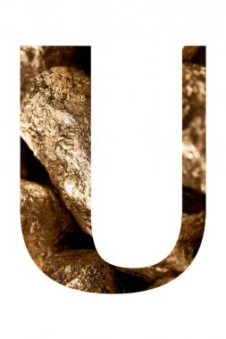 Letter U made of shiny golden stones isolated on white stock vector