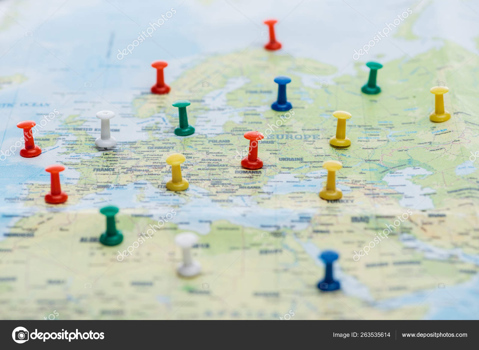Selective Focus Colorful Push Pins World Map — Stock Photo ...