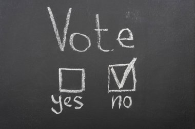 top view of white vote lettering and check mark near no word on black chalkboard