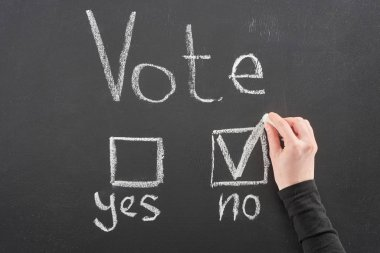 top view of voter putting check mark near no word on black chalkboard