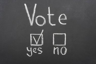 top view of white vote lettering and check mark near yes word on black chalkboard