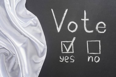 top view of vote lettering and check mark near yes word on black chalkboard near white flag