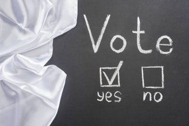 top view of white vote lettering and check mark near yes word on black chalkboard near white flag