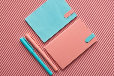 top view of arranged pens and notebooks on textured pink