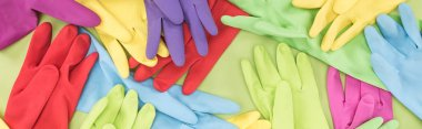 panoramic shot of scattered multicolored rubber gloves on green background