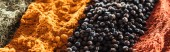zblízka pohled na tradiční barevné indiánské koření, panoramatický záběr