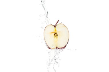 Ripe red apple half and clear water splash with drops isolated on white stock vector