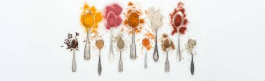panoramic shot of various colorful spices in silver spoons on white background