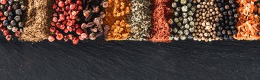 panoramic shot of traditional bright indian spices on textured background
